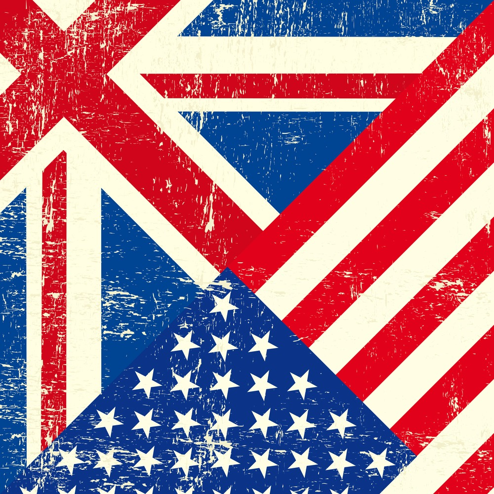 UK and american grunge flag