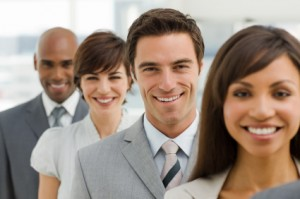 Closeup portrait of happy business group